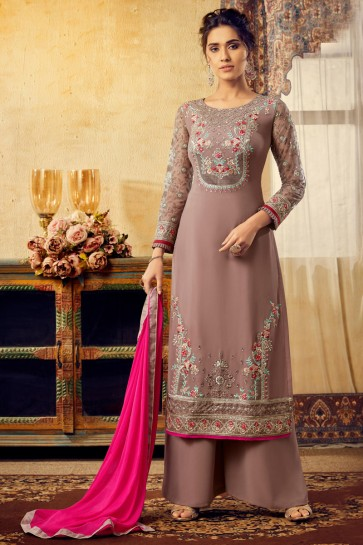 Stunning Khaki Embroidered Viscose And Georgette Plazzo Suit With Chiffon Dupatta