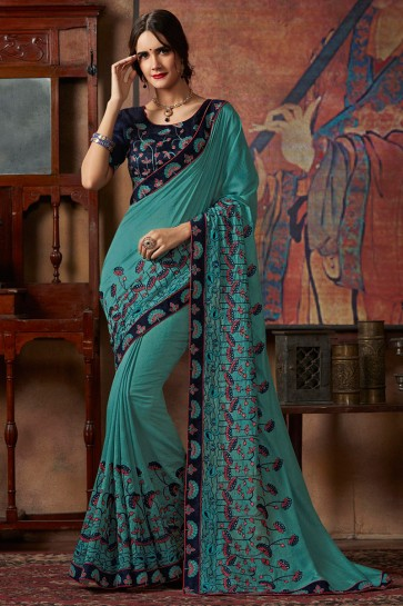 Ultimate Border And Thread Work Designer Sea Green Georgette Saree And Silk Blouse