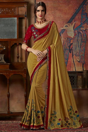 Gold Thread Work And Lace Work Designer Silk Saree With Lace Work Blouse