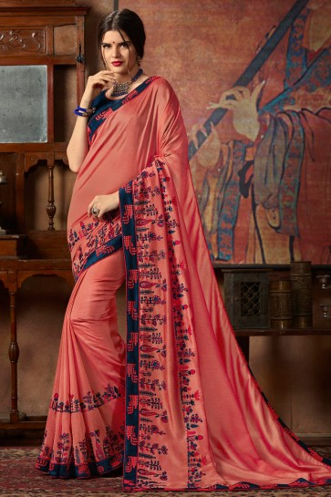 Lace And Sequence Embroidery Work Peach Silk Saree With Fancy Fabric Blouse