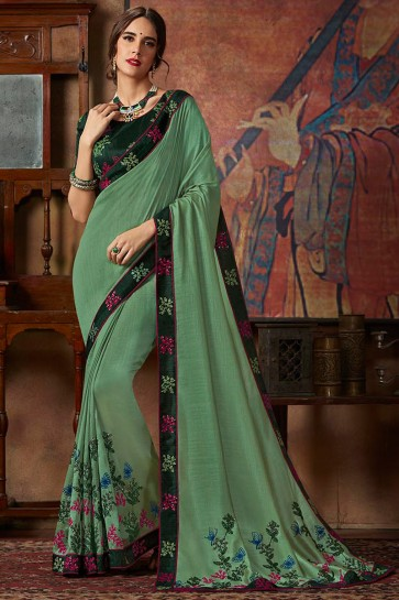 Thread Work And Lace Work Light Green Banarasi Silk Designer Saree And Blouse