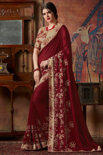 Sequence Embroidery And Border Work Maroon Silk Designer Saree With Lace Work Blouse