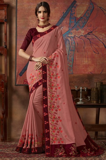 Silk Fabric Peach Sequence Embroidery And Thread Work Saree With Lace Work Blouse