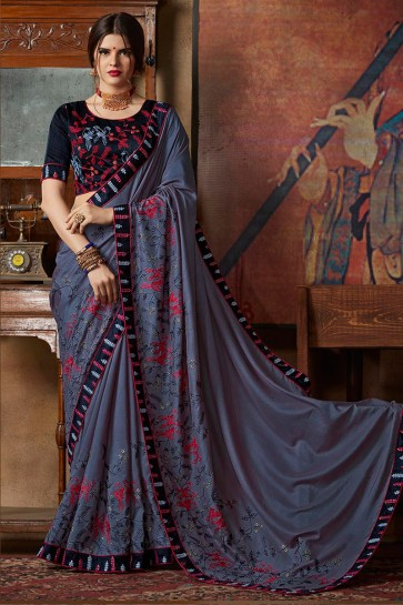 Georgette Fabric Grey Lace And Sequence Embroidery Work Silk Saree With Thread Work Blouse