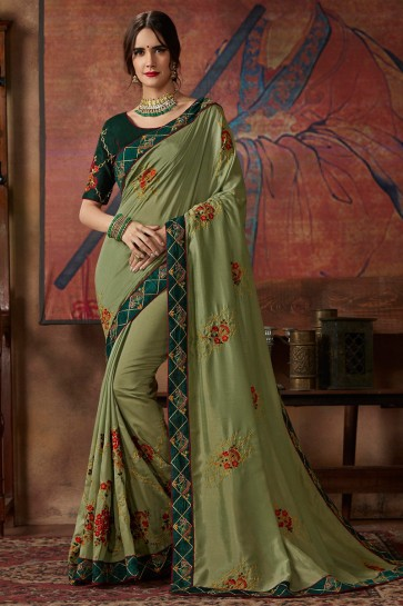 Party Wear Olive Lace Work And Thread Work Designer Silk Saree With Embroidered Blouse
