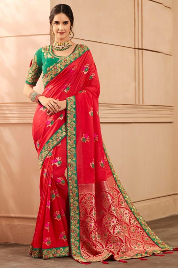 Party Wear Red Lace Work And Hand Work Designer Banarasi Silk Saree And Blouse