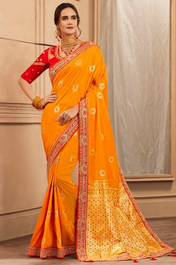 Orange Border Work And Hand Work Banarasi Silk Designer Saree With Lace Work Blouse