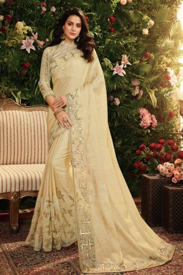 Classy Cream Embroidred And Stone Work Silk Saree And Blouse