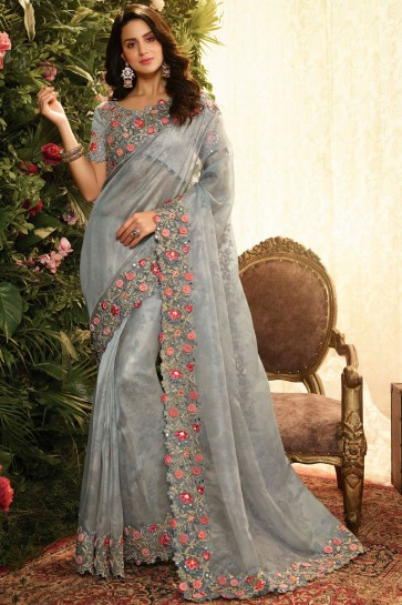 Grey Embroidred And Stone Work Organza Saree With Embroidred Blouse