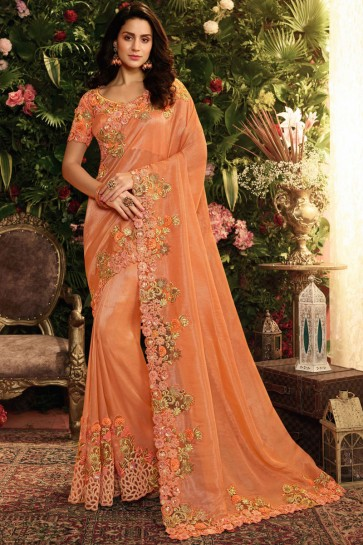 Party Wear Orange Embroidred And Stone Work Viscose Saree And Blouse