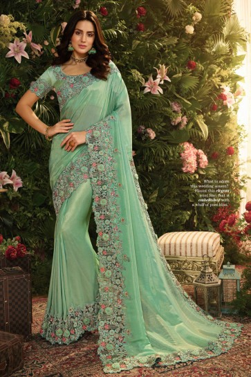 Embroidred And Stone Work Sea Green Viscose Designer Saree And Blouse