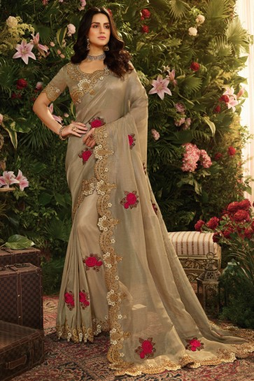 Beige Embroidred And Stone Work Viscose Saree With Embroidred Blouse