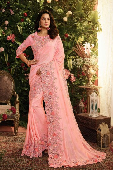 Lovely Pink Embroidred And Stone Work Designer Silk Saree And Blouse
