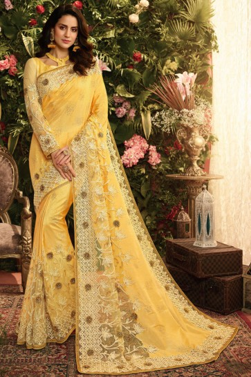 Beautiful Yellow Embroidred And Stone Work Designer Silk Saree And Blouse