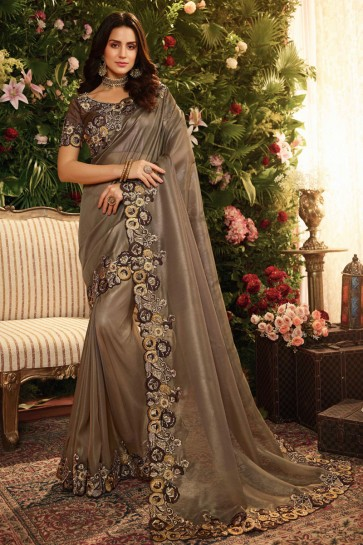 Appealing Brown Embroidred And Stone Work Organza Saree With Embroidred Blouse