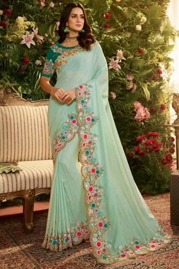 Sky Blue Embroidred And Stone Work Designer Silk Saree With Embroidred Blouse