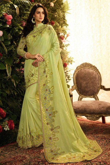 Stylish Pista Embroidred And Stone Work Silk Saree And Blouse