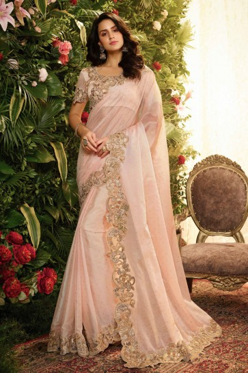 Splendid Baby Pink Embroidred And Stone Work Organza Saree And Blouse