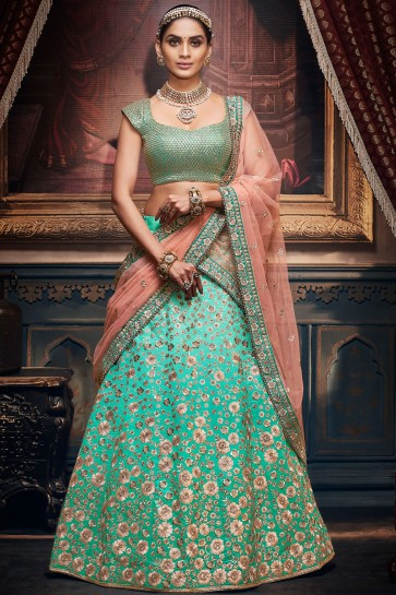 Stone Work And Embroidered Sky Blue Silk Fabric Designer Lehenga Choli With Net Dupatta
