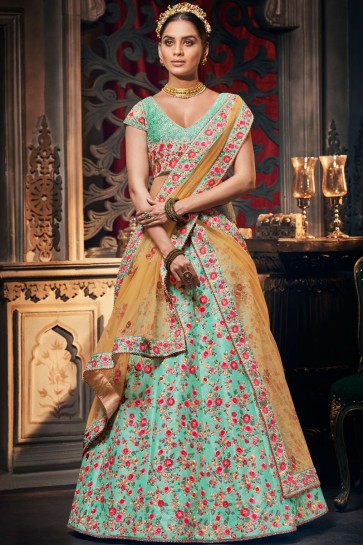 Sky Blue Stone Work And Embroidery Work Silk Fabric Lehenga Choli With Net Dupatta