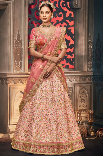 Supreme Silk Fabric Peach Stone Work And Embroidered Lehenga Choli And Dupatta