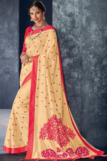 Charming Cream Silk Fabric Stone Work Designer Saree With Embroidered Blouse