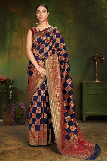 Party Wear Navy Blue Patola Silk Fabric Jacquard Work And Weaving Work Saree And Blouse