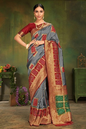 Heavy Designer Weaving Work And Jacquard Work Grey Patola Silk Fabric Saree Amd Blouse