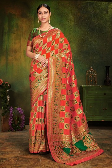 Orange Weaving Work And Jacquard Work Designer Patola Silk Fabric Saree And Blouse