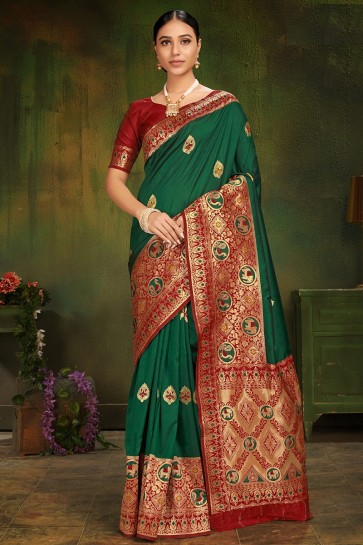 Stunning Green Jacquard Work And Weaving Work Patola Silk Fabric Saree And Blouse