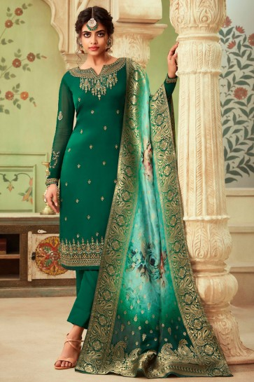 Lovely Embroidered And Stone Work Green Georgette Satin Salwar Kameez And Dupatta