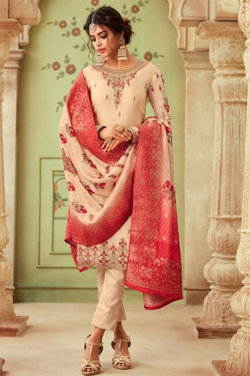 Gorgeous Georgette Satin Cream Embroidered And Stone Work Salwar Suit And Dupatta