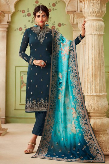 Party Wear Navy Blue Embroidered And Stone Work Georgette Satin Salwar Suit And Dupatta