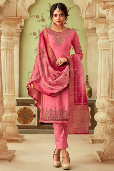 Pink Georgette Satin Embroidered And Stone Work Salwar Suit And Dupatta