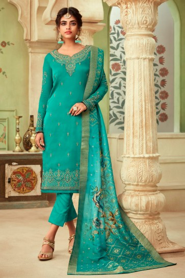 Sea Green Embroidered And Stone Work Georgette Satin Salwar Suit And Dupatta