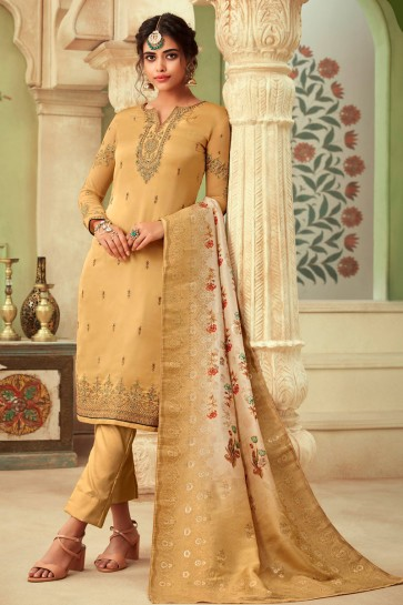 Delightful Beige Embroidered And Stone Work Georgette Satin Salwar Suit And Dupatta