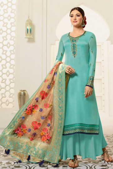 Zari Work And Hand Work Sky Blue Georgette Satin Fabric Plazzo Suit And Dupatta