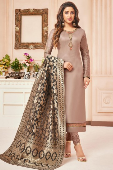 Delightful Beige Embroidered And Stone Work Silk And Cotton Casual Salwar Suit With Jacquard Dupatta