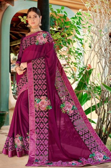 Supreme Magenta Embroidred And Printed Fancy Fabric Saree And Silk Blouse
