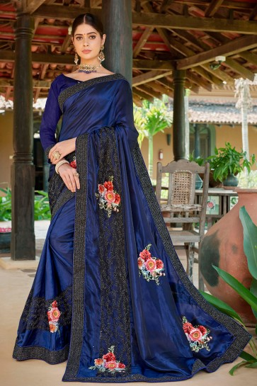 Excellent Royal Blue Embroidred And Printed Fancy Fabric Saree And Silk Blouse