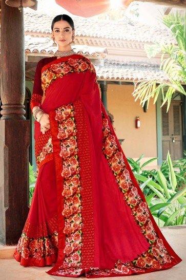 Desirable Red Embroidred And Printed Fancy Fabric Saree And Silk Blouse