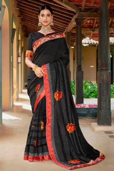 Beautiful Black Embroidred And Printed Fancy Fabric Saree And Silk Blouse