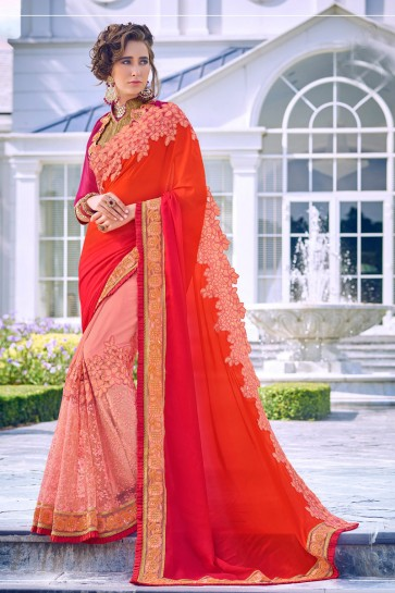 Beautiful Multi Color Embroidred And Stone Work Fancy Fabric Saree And Blouse