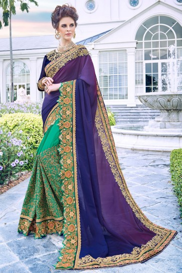 Appealing Multi Color Embroidred And Stone Work Fancy Fabric Saree And Blouse