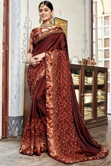Coffee Rangoli Georgette Fabric Embroidered And Digital Printed Saree With Banglori Silk Blouse