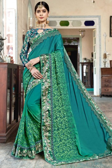 Heavy Designer Embroidered And Digital Printed Teal Rangoli Georgette Fabric Saree And Blouse