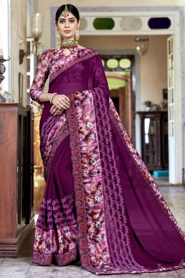 Violet Georgette Rangoli Digital Printed And Embroidered Saree With Banglori Silk Blouse