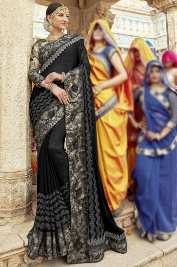 Party Wear Black Digital Printed And Embroidered Rangoli Georgette Saree With Banglori Silk Blouse