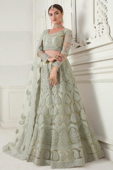 Graceful Pista Net Fabric Embroidred Lehenga Choli And Net Dupatta