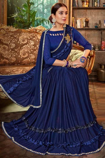 Stylish Royal Blue Embroidred And Lace Work Satin And Silk Flare Saree With Banglori Silk Blouse
